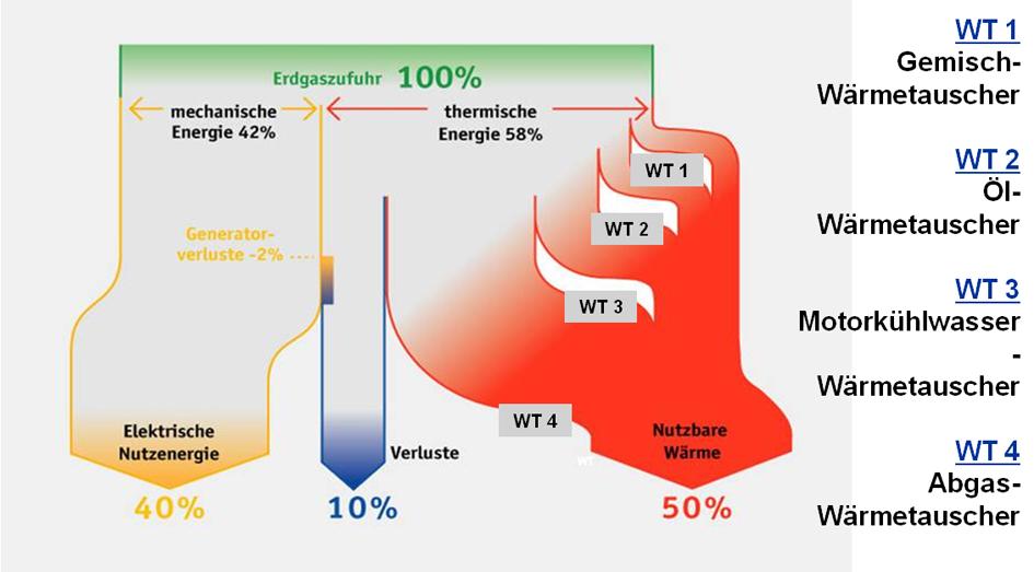 Effizienz der WKK beim Einsatz von Erdgas.