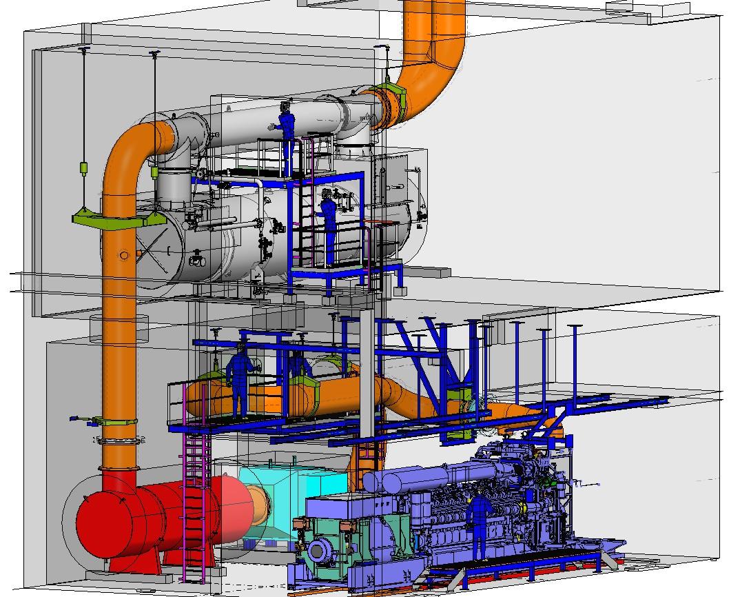 Für die Integration des 4,4 MW starken Gasmotors zur Wärme-Kraft-Kopplung war eine mehrstöckige Infrastruktur notwendig. Bild: Roche