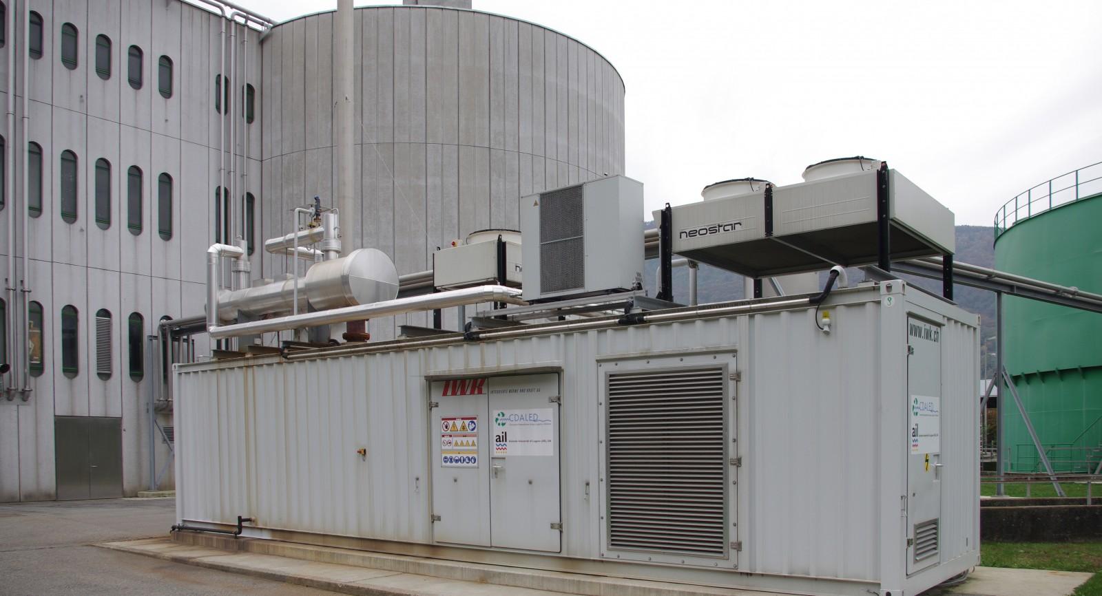 Die Abwasserreinigungsanlage in Bioggio weist ein Einzugsgebiet von deutlich über 180'000 Einwohnern auf. Das entstehende Klärgas wird mit dem BHKW genutzt.