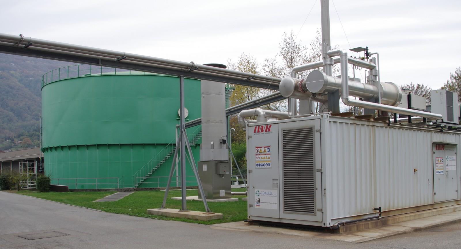 Der gross dimensionierte Klärgas-Speicher ermöglicht einen kontinuierlichen Betrieb des BHKW.