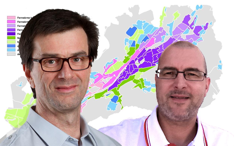Michael Stang (links) und Ingolf Alberth sind für Planung und Betrieb des St. Galler Fernwärmenetzes verantwortlich.