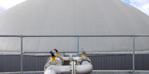 Rund 3'400 m3 Inhalt wird dem Biogas sowohl im Nachgärer als auch im Gasspeicher zur Verfügung gestellt.