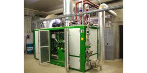 Das inzwischen hinzugekommene BHKW arbeitet mit einem 4-Zylinder-Motor von 155 kW Leistung und stellt eine wichtige Ergänzung der Wärme-Kraft-Kopplung dar.